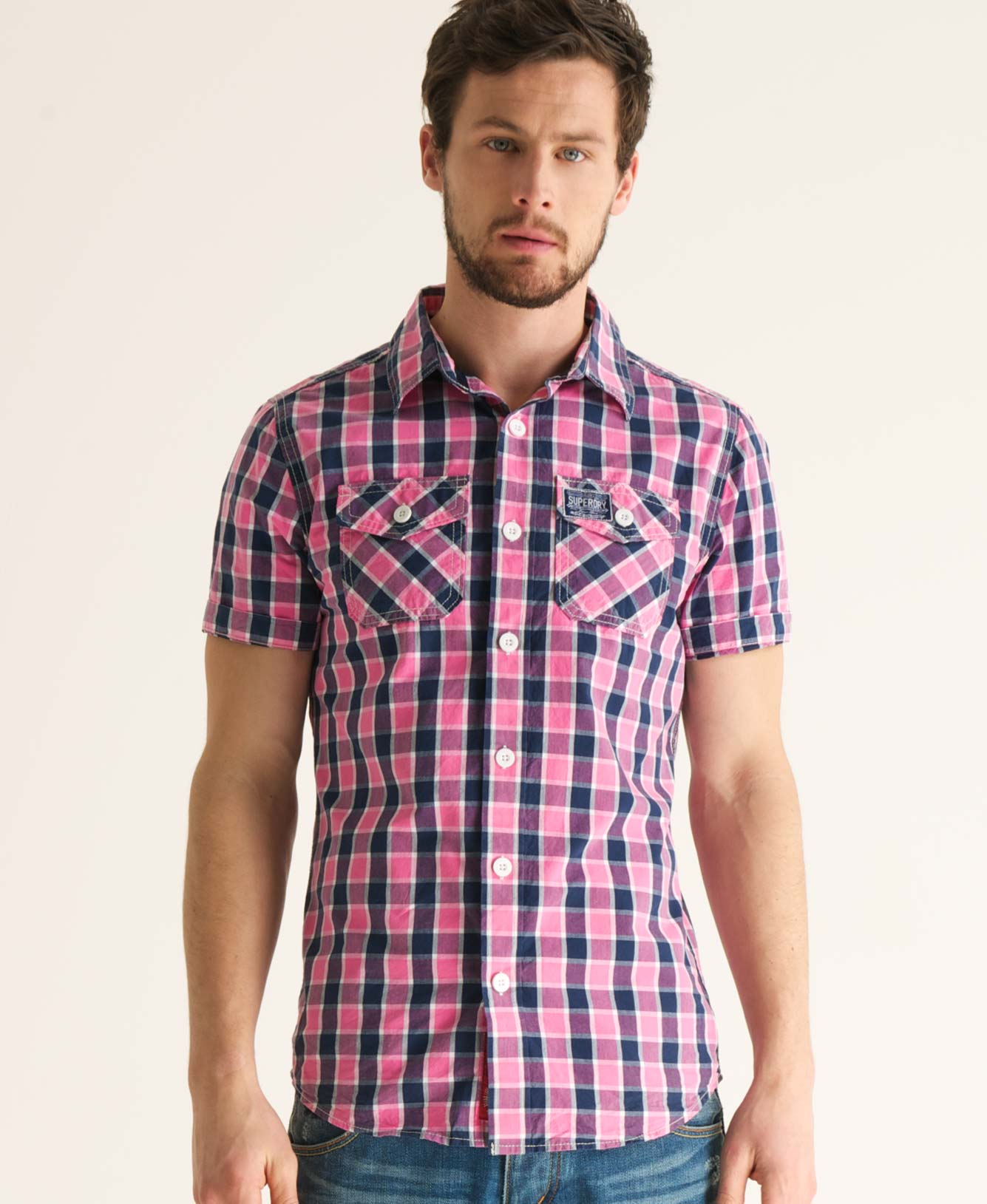 New Mens Superdry Washbasket Check Short Sleeved Shirt Big Upton Pink TSD