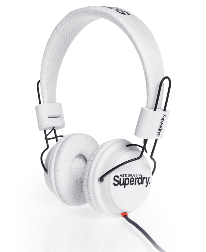 New-Superdry-Technical-Headphones-White-AA
