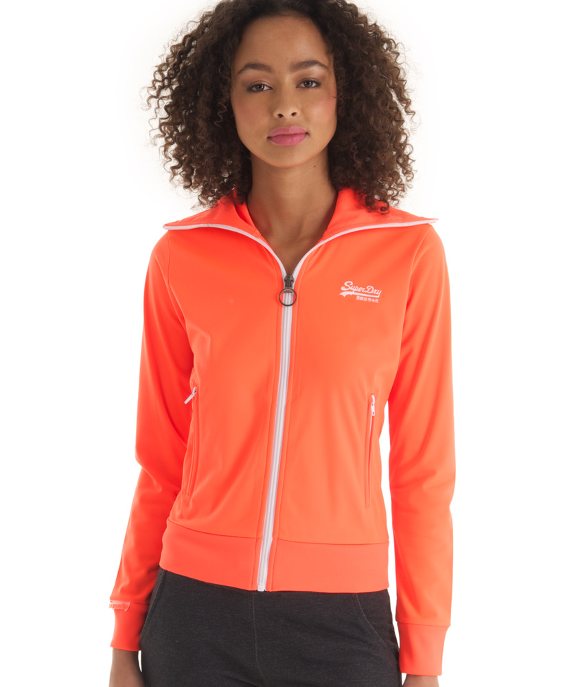 New Womens Superdry Heights Track Top Neon Orange