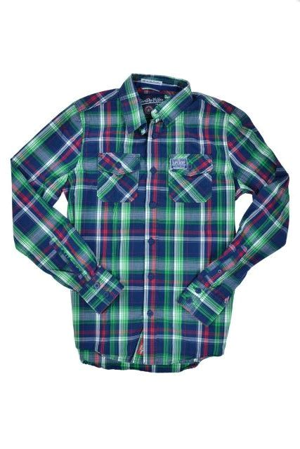 New Mens Superdry Washbasket Long Sleeved Check Shirt Mediteranean Blue Check TS