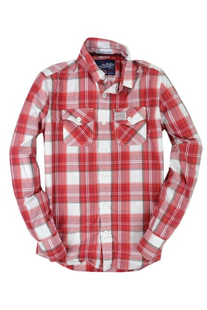 New-Mens-Superdry-Washbasket-Check-Long-Sleeved-Shirt-Bermuda-Check-Red-AB