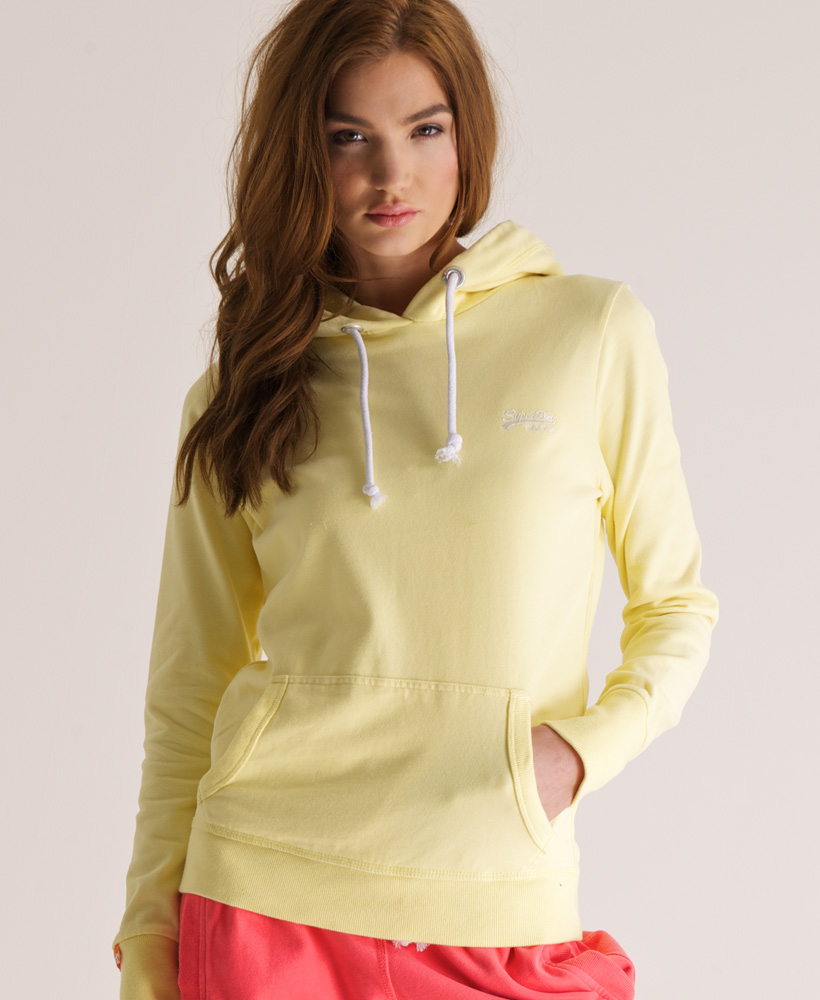 New Womens Superdry Orange Label Lite Hoodie Zest Yellow AA