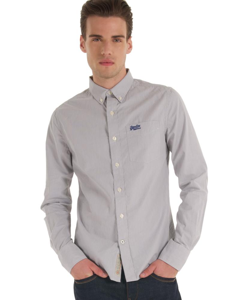 New mens superdry new york button down shirt ls premium for Mens grey button down dress shirt