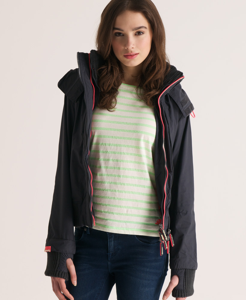 New-Womens-Superdry-Technical-Hooded-Tri-Colour-Windbomber-Jacket-Charcoal-VH