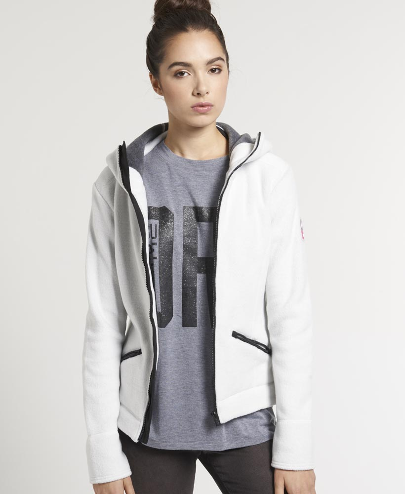 New Womens Superdry Super Slalom Zip Hoodie Sea Salt Grey VH