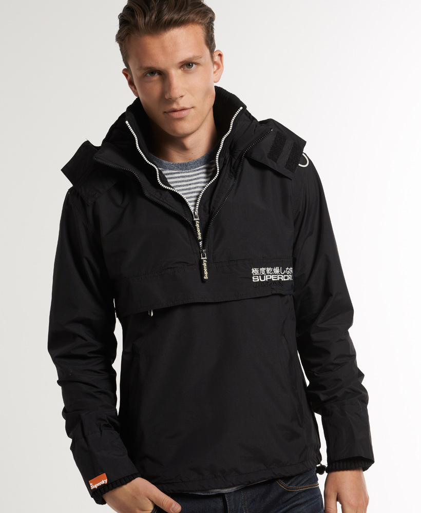 New-Mens-Superdry-Arctic-Pop-Zip-Wind-Cagoule-Jacket-Black-TP