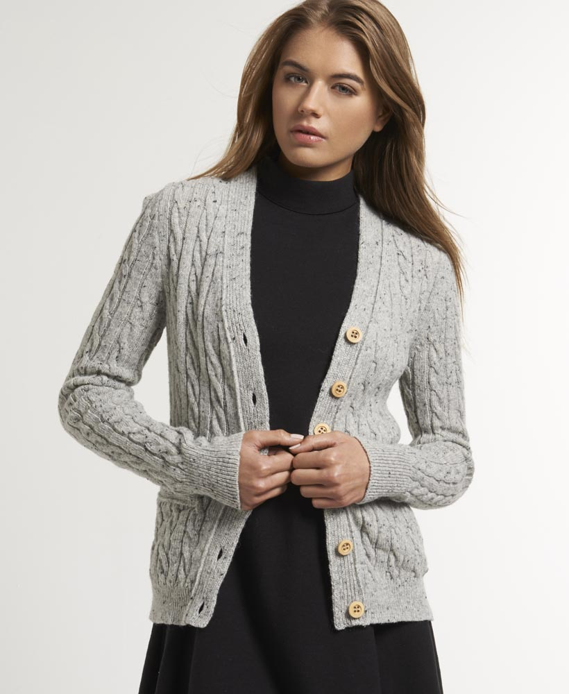 New Womens Superdry Westminster Cardigan Grey Nep