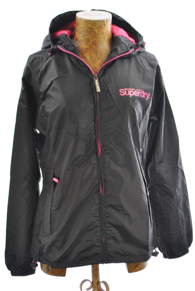 New Womens Superdry Hooded Stormbreaker Jacket Black AB1