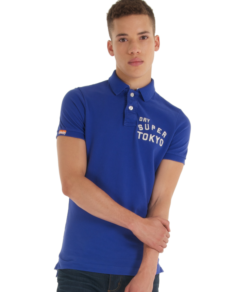 New-Mens-Superdry-Team-Japan-Applique-Polo-T-Shirt-Louisianna-Blue-AB