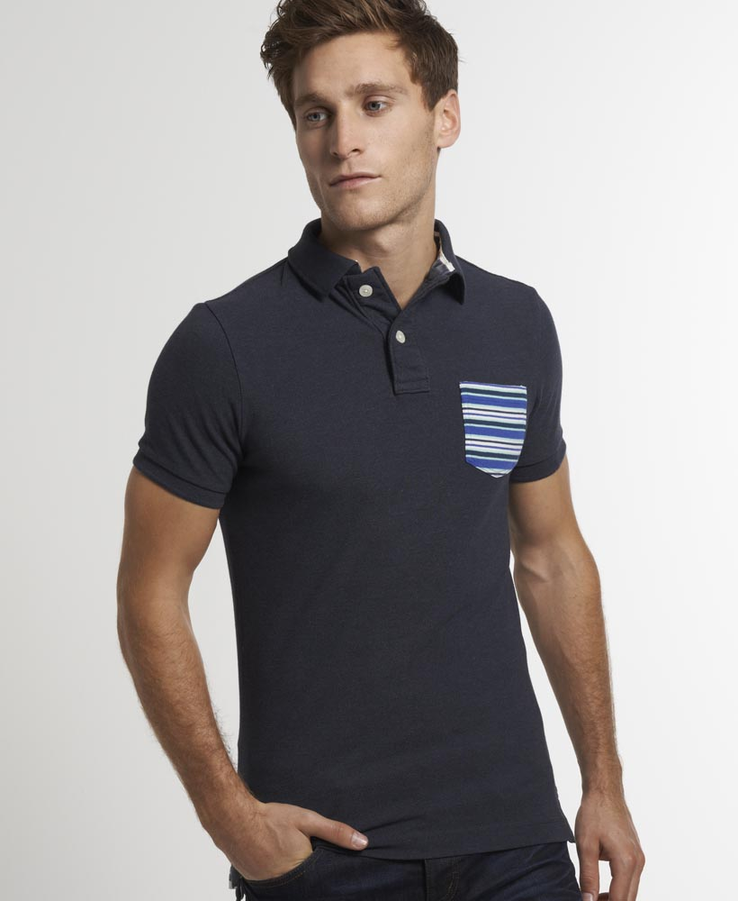 New Mens Superdry Stripe Pocket Pique Polo T-Shirt Midnight Marl Mix Navy AB