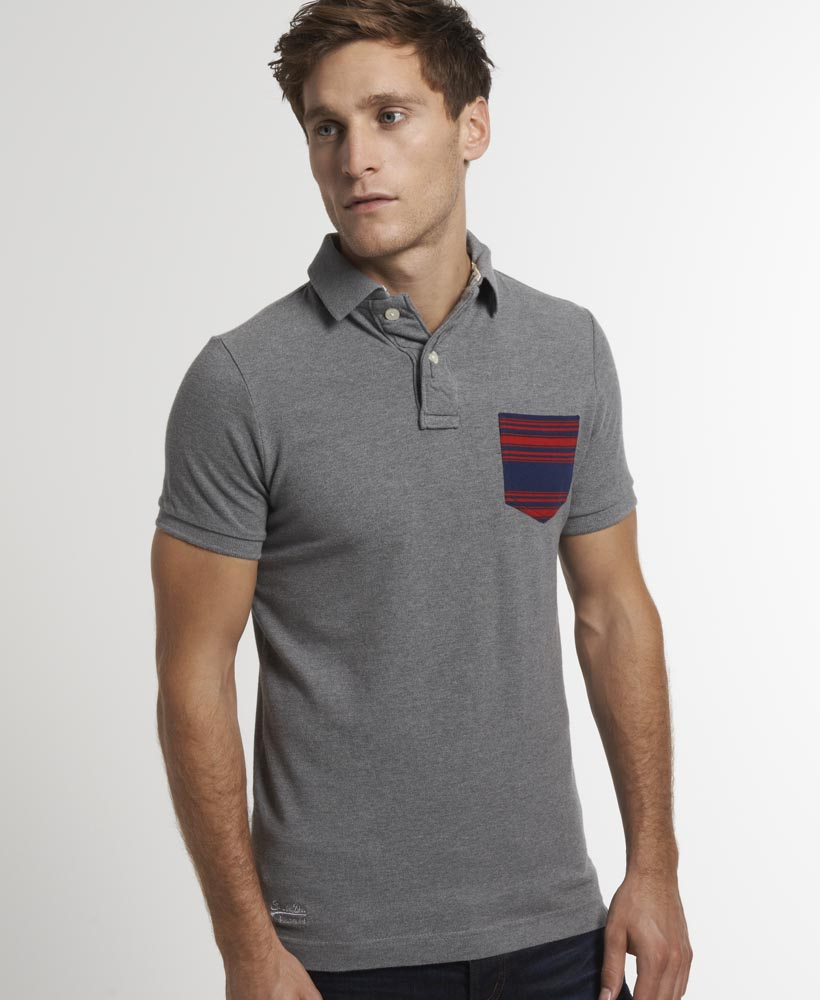 New Mens Superdry Stripe Pocket Pique Polo T-Shirt Grey Marl Mix AB