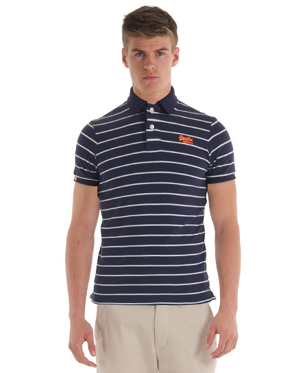 New Mens Superdry Single Stripe Polo T-Shirt French Navy AB