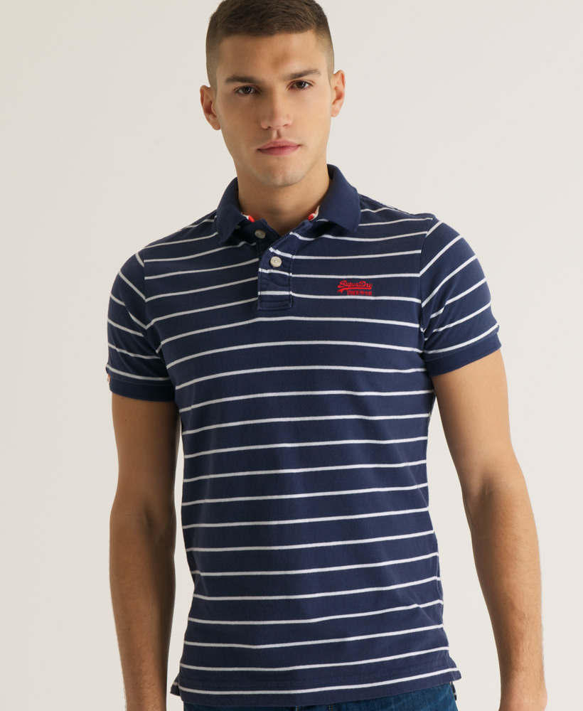 New-Mens-Superdry-Stripe-Jersey-Polo-T-Shirt-French-Navy-AB