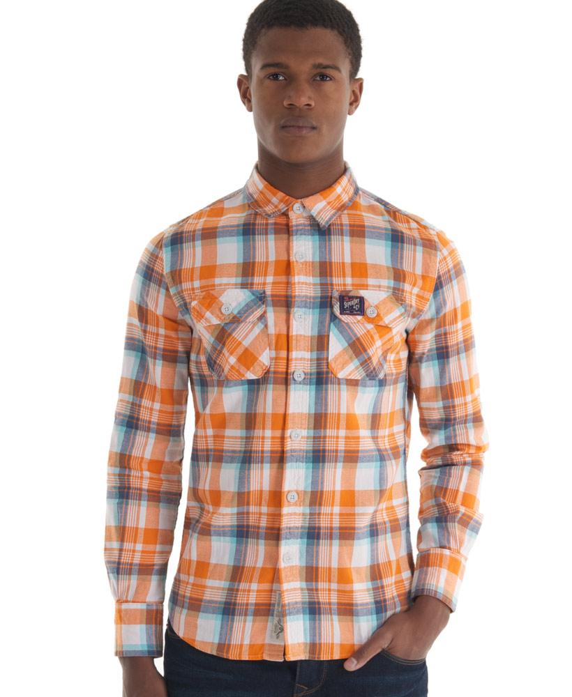 New Mens Superdry Lumberjack Twill Shirt Warner Orange