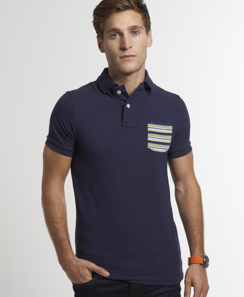 neues herren superdry stripe pocket pique polo shirt french navy blau ebay. Black Bedroom Furniture Sets. Home Design Ideas