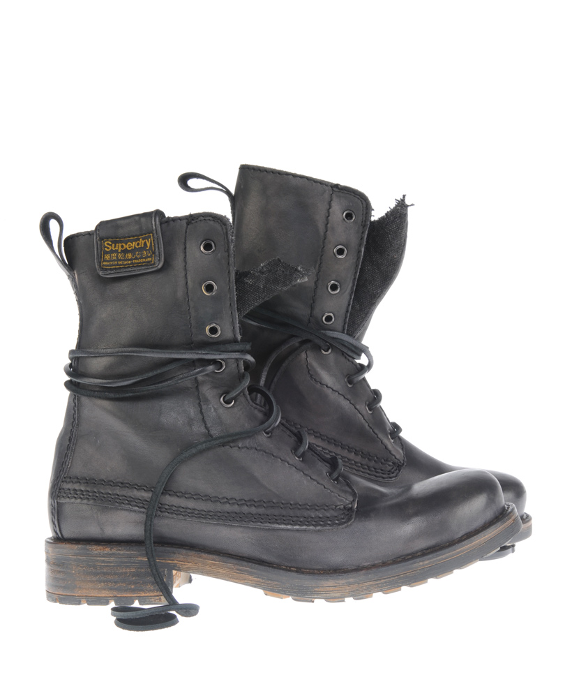 New-Mens-Superdry-New-Trawler-Boots-Black-Leather