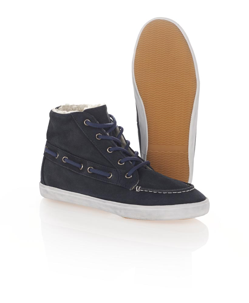 New Womens Superdry Winter Boat Chucker Boots Navy Suede