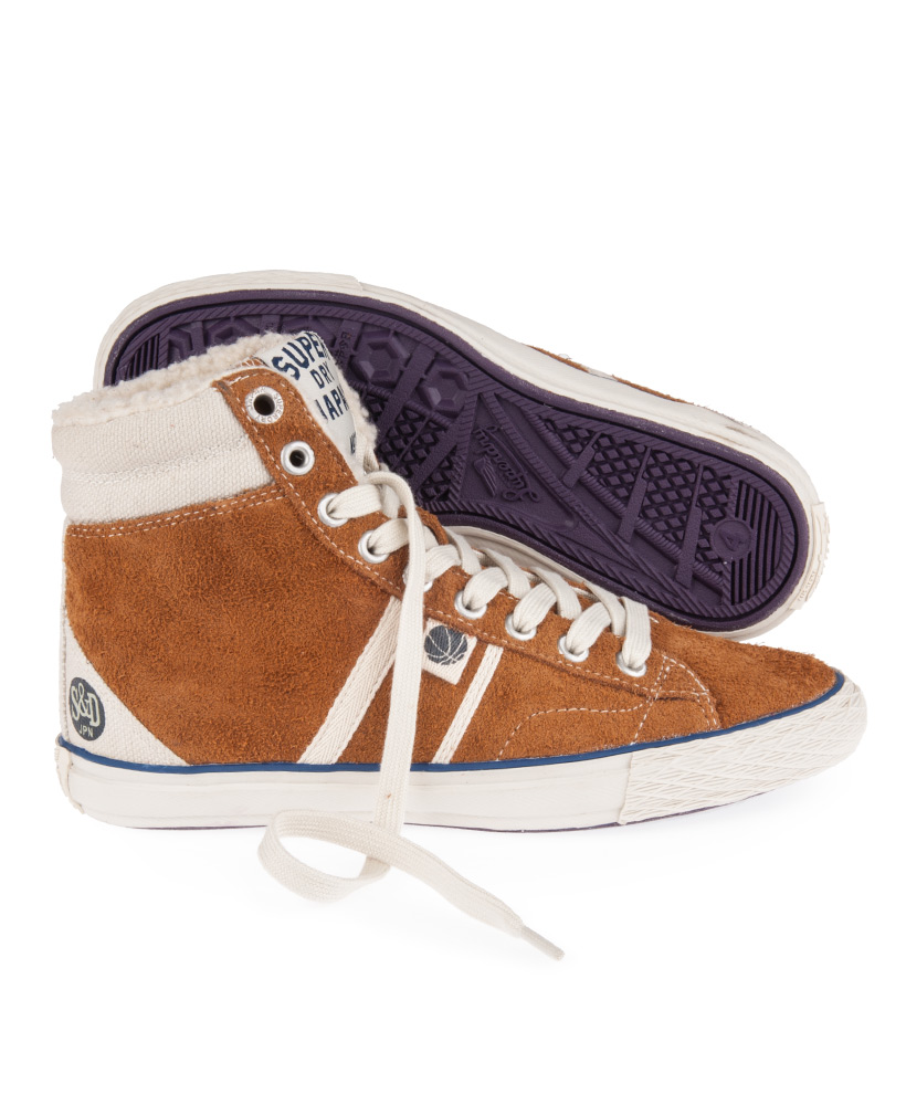 neuf femmes superdry marteau haut brut chaussures de sport baskets daim fauve ebay. Black Bedroom Furniture Sets. Home Design Ideas