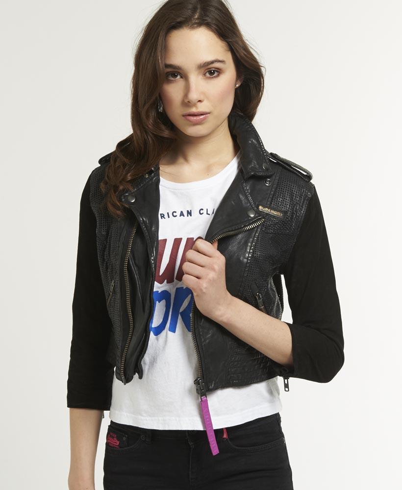 Leather jacket superdry - New Womens Superdry Olivia Aero Biker Leather Jacket Black
