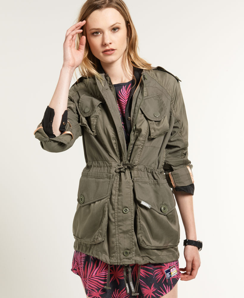 New Womens Superdry Silk Route Parka Jacket Dusky Olive Green