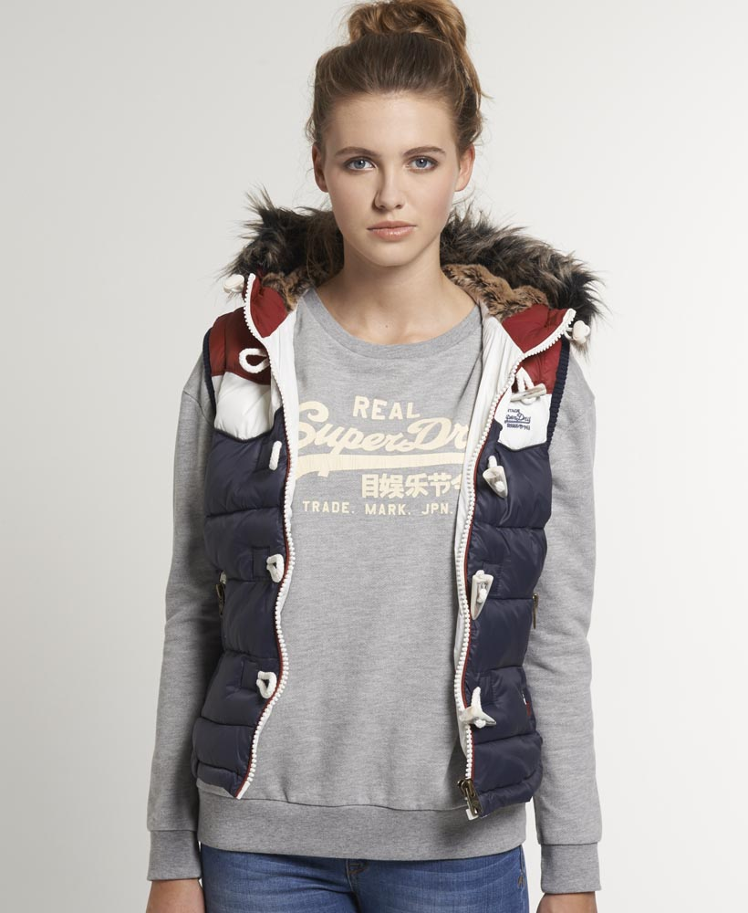 new womens superdry retro fur hooded gilet jacket dull navy ebay. Black Bedroom Furniture Sets. Home Design Ideas