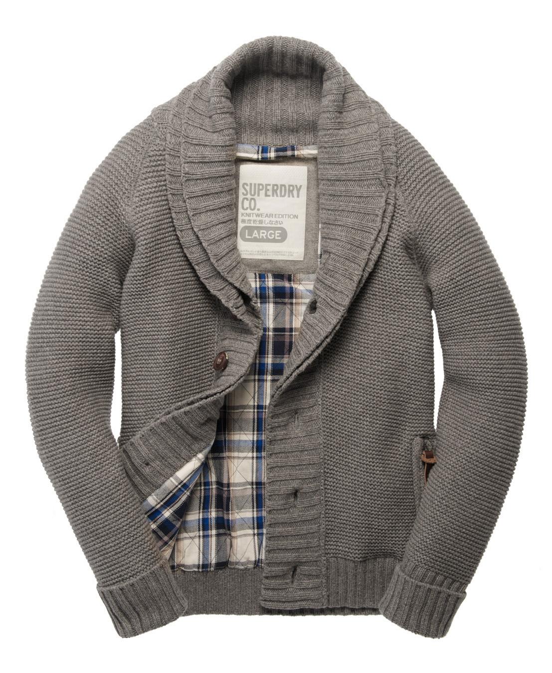 new mens superdry shawl quilted cardigan heather grey ebay
