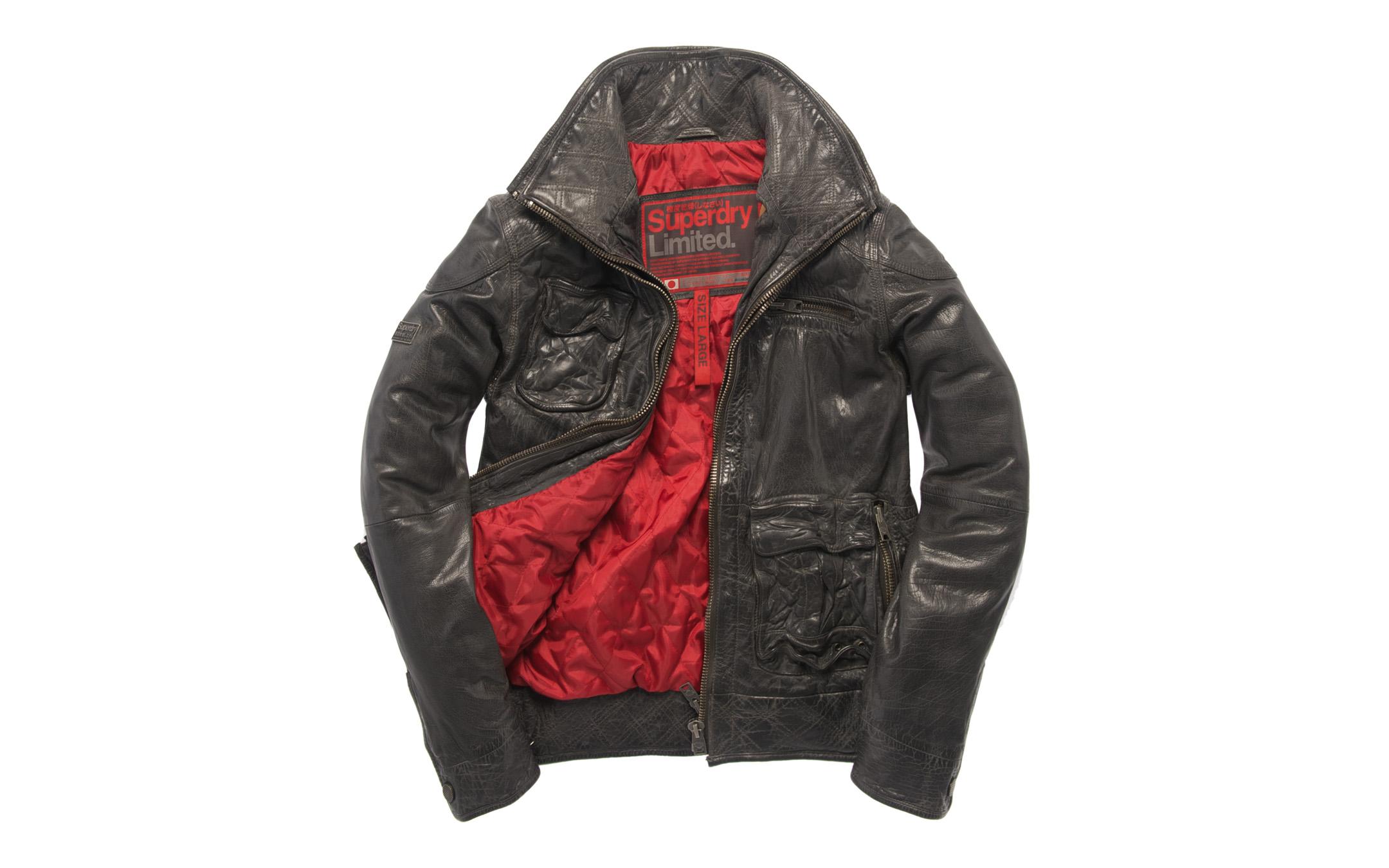 Leather jacket superdry - New Mens Superdry Tarpit Leather Jacket Field Black