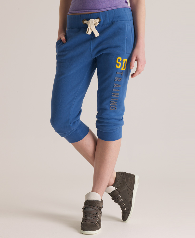 New-Womens-Superdry-Training-Capri-Pant-Joggers-Indigo-Blue-AA