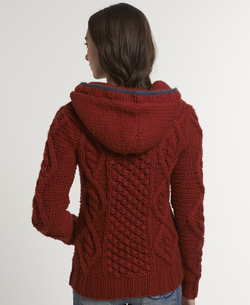 Knitting Pattern Womens Hoodie : New Womens Superdry Verbier Knit Hoodie Red KVH