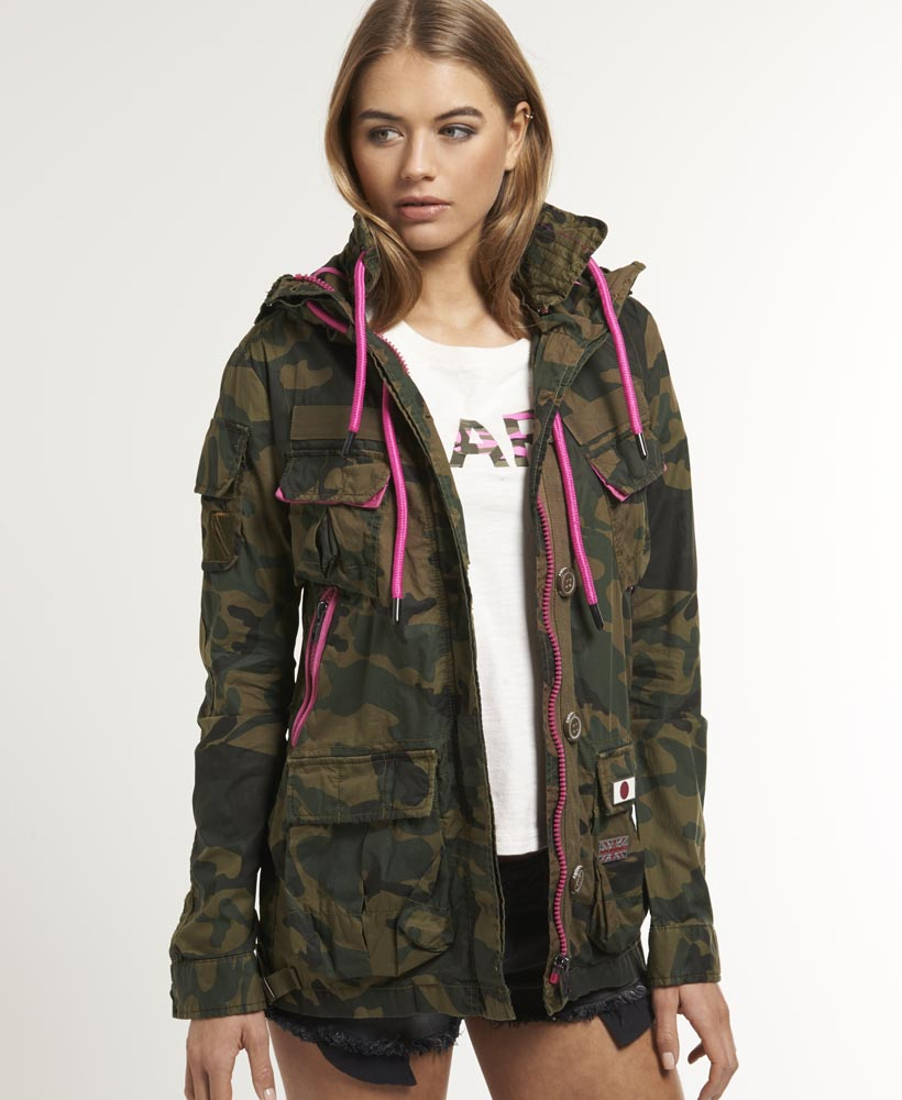 new womens superdry service jacket iron camo green ebay. Black Bedroom Furniture Sets. Home Design Ideas