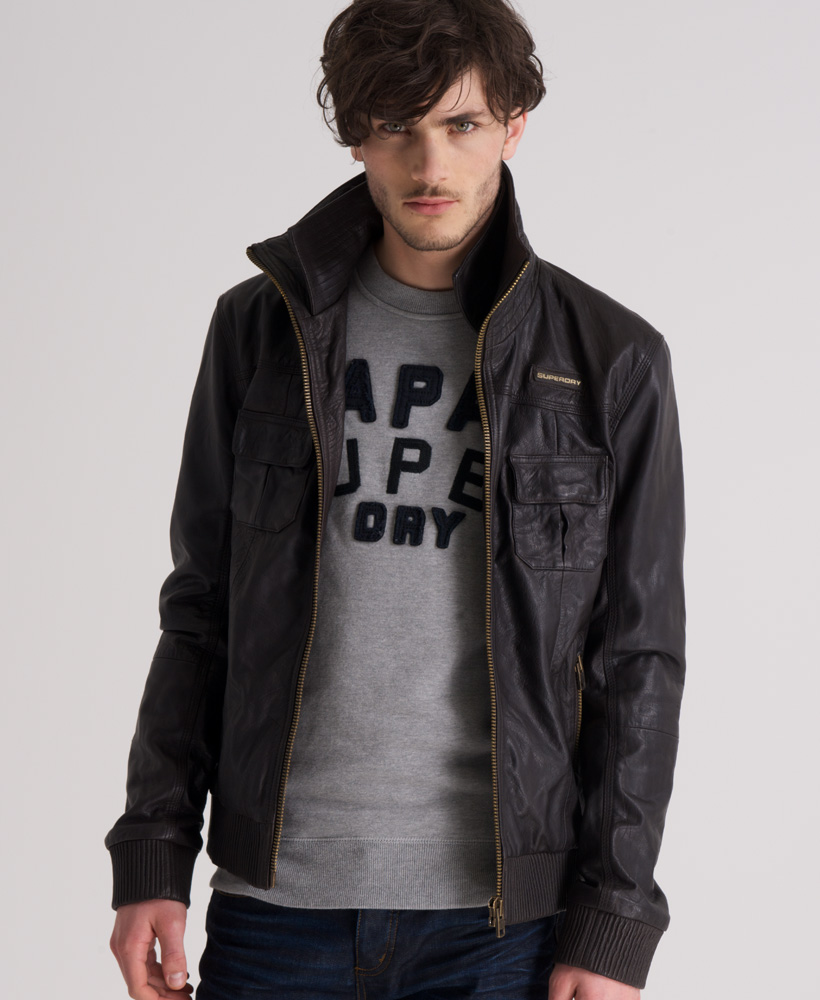 Leather jacket superdry - New Mens Superdry Ryan Leather Bomber Jacket Darkest Brown