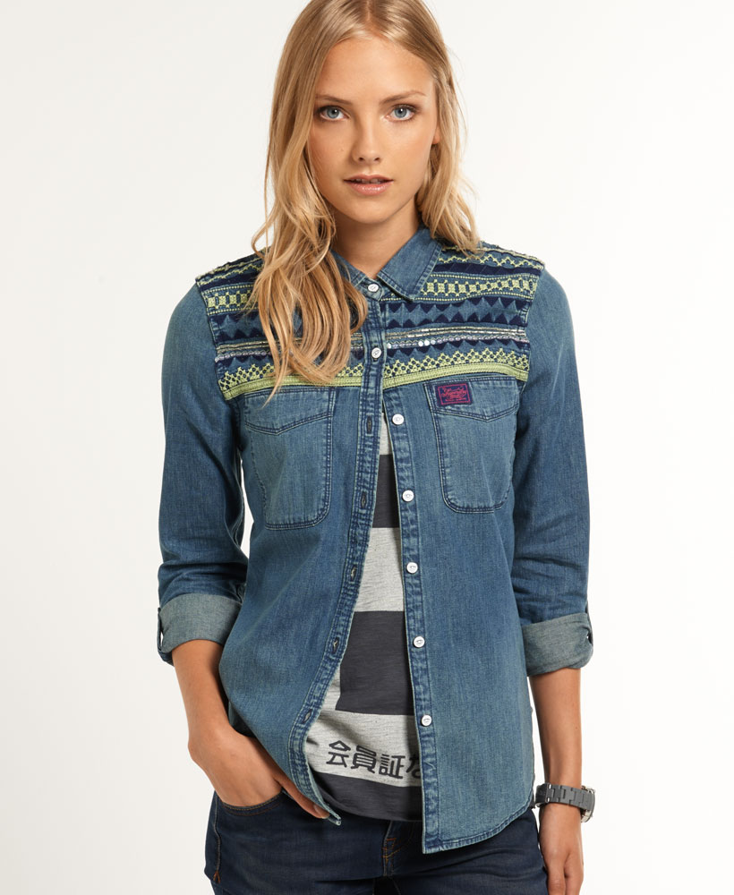 new womens superdry flag denim shirt western flag wash blue ebay. Black Bedroom Furniture Sets. Home Design Ideas