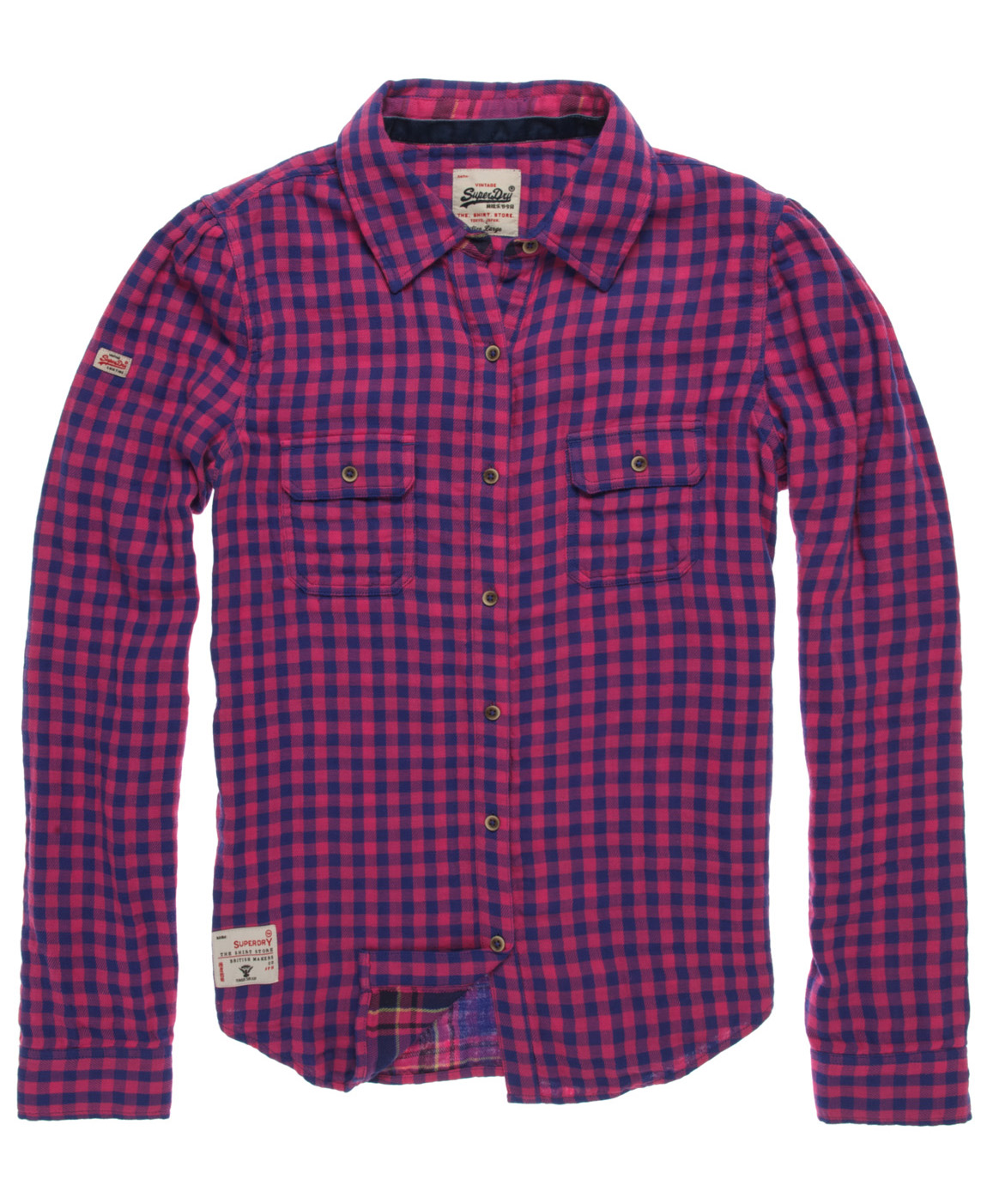 New womens superdry winter gingham shirt kirby pink for Pink gingham shirt ladies
