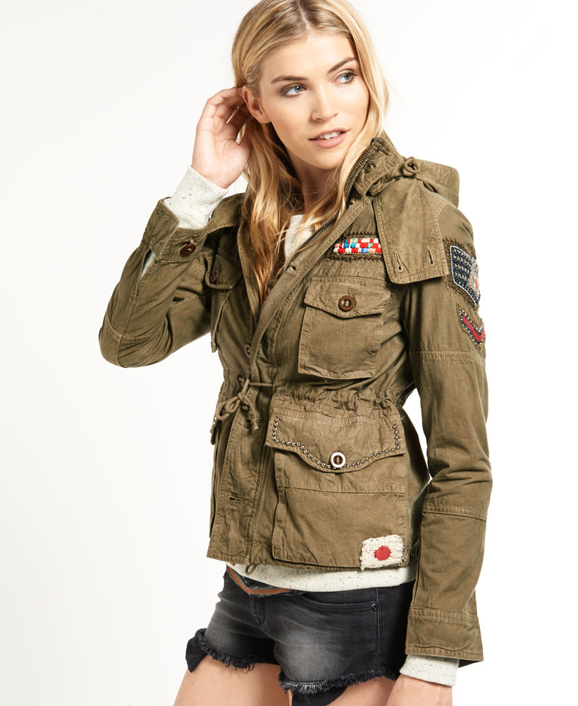 neue damen superdry dragon surplus jacke khaki gr n ebay. Black Bedroom Furniture Sets. Home Design Ideas