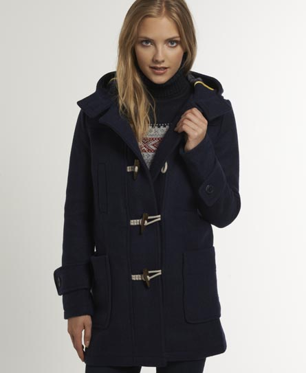 New Womens Superdry Padding Duffle Coat Navy