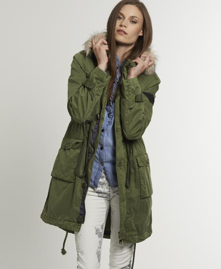 Green parka coat womens