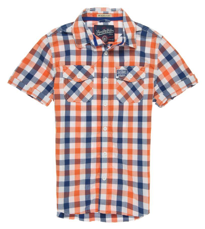 New Mens Superdry Washbasket Check Shirt Oaks Orange Check