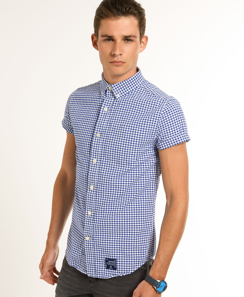 New mens superdry true dry oxford shirt royal city gingham for Mens blue gingham shirt