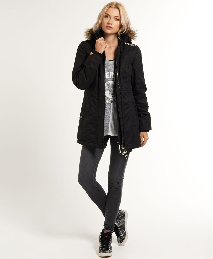 New Womens Superdry Mircofibre Hooded Super Wind Parka Jacket ...
