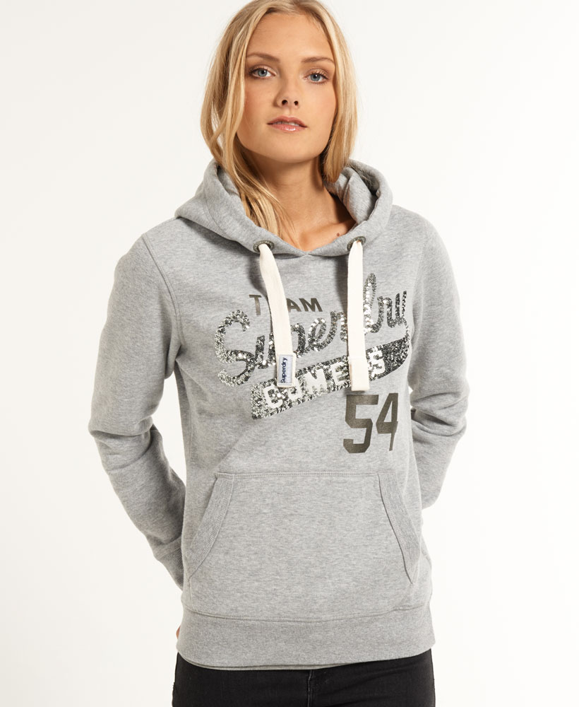 details about new womens superdry sequin comets hoodie light grey marl. Black Bedroom Furniture Sets. Home Design Ideas