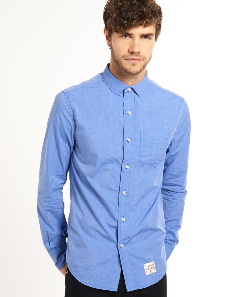 New Mens Superdry Cut Collar Shirt End On End Royal Blue