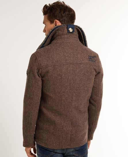 New Mens Superdry Jermyn Street Pea Coat Brown Herringbone