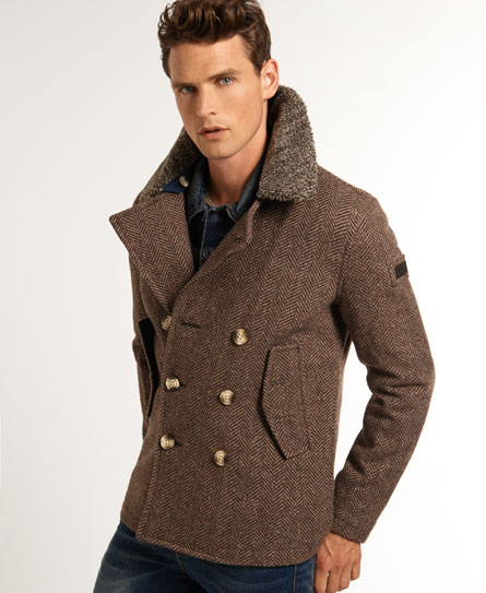 New Mens Superdry Jermyn Street Pea Coat Brown Herringbone | eBay