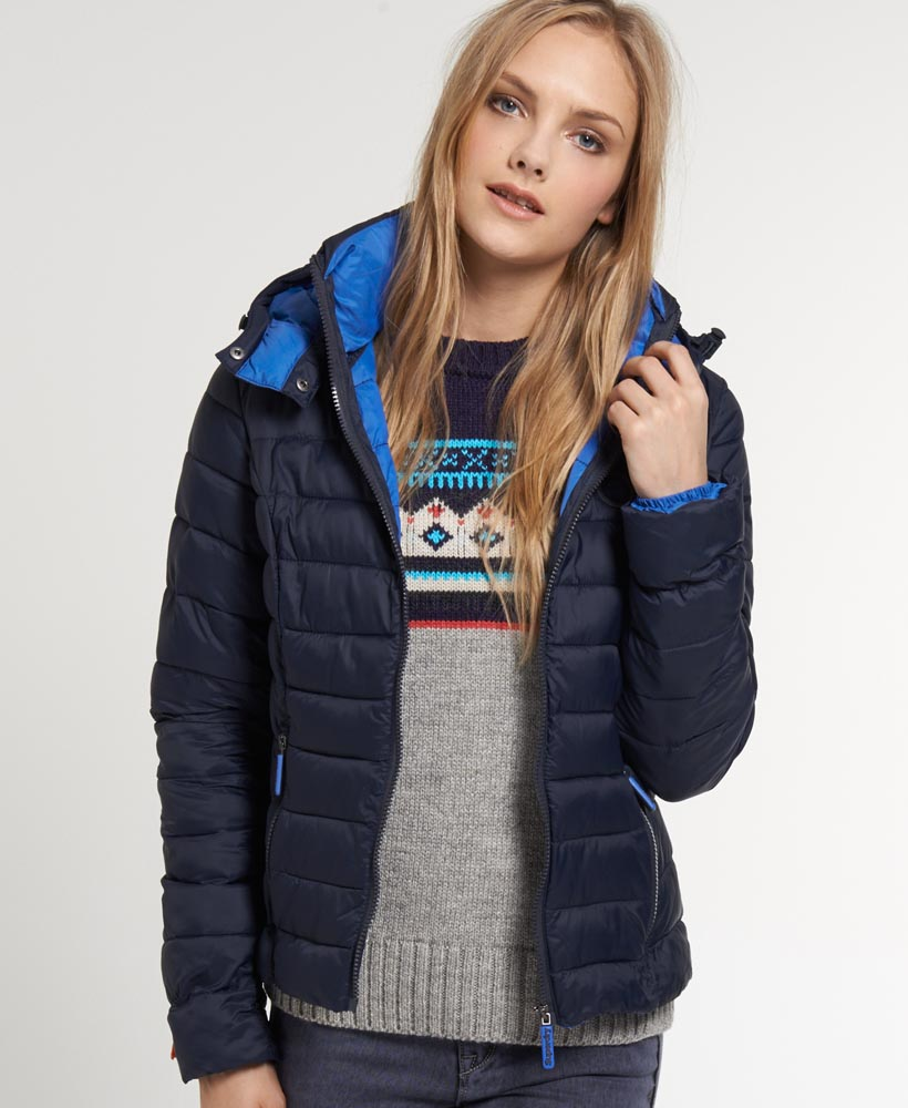 new womens superdry fuji hooded jacket ink blue ebay. Black Bedroom Furniture Sets. Home Design Ideas