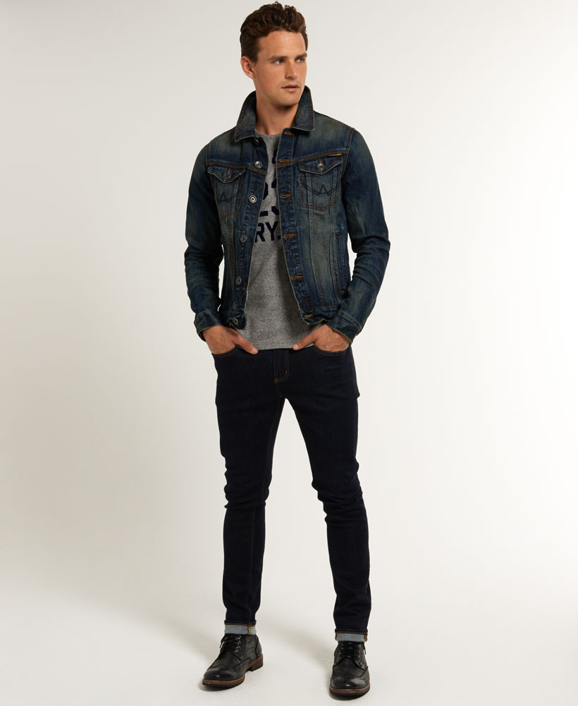 New Mens Superdry Copperfill Denim Jacket Artisan Vintage Dark ...