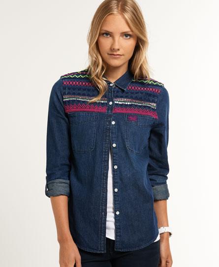 new womens superdry flag denim shirt indigo flag wash ebay