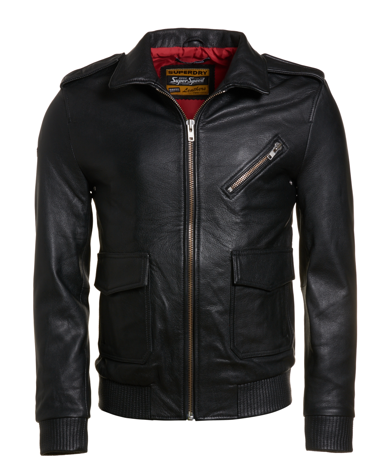 New Mens Superdry Flight Bomber Leather Jacket Black XO1 | eBay