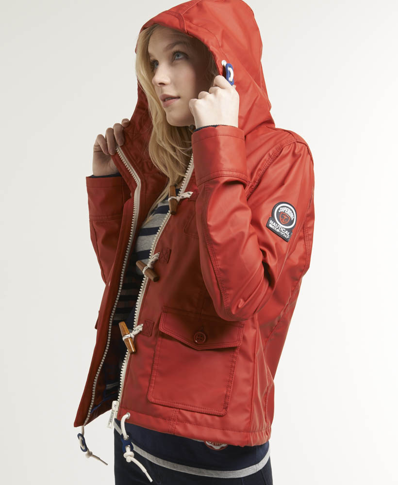 New Womens Superdry Boat Duffle Coat Rebel Red