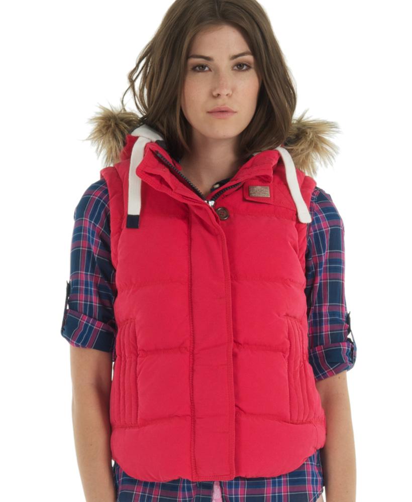 neue damen superdry hooded university weste gilet jacket rot ebay. Black Bedroom Furniture Sets. Home Design Ideas