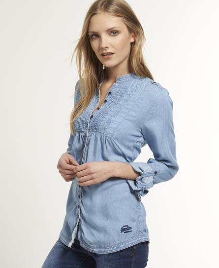 New womens superdry pierrot denim shirt classic indigo ebay for Indigo denim shirt womens